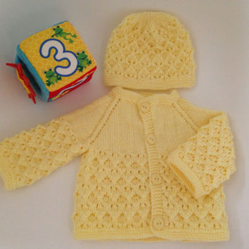 Ready to Ship. Hand Knitted Baby Cardigan - Sweater and Hat Newborn Reborn  0-3 Months Old Yellow  Color Soft Acrylic
