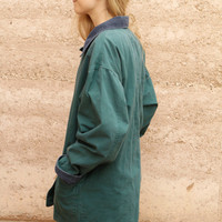 90s vintage hunter green OXFORD corduroy contrast collar PACIFIC NORTHWEST style jacket coat