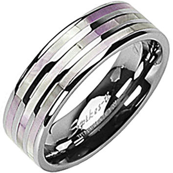 SPIKES Titanium Mother of Pearl Inlay MEN'S Ring