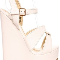 WHITE FAUX LEATHER PLATFORM HIGH HEEL WEDGE