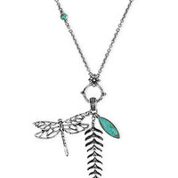 Lucky Brand Necklace, Silver-Tone Dragonfly and Fern Charm Necklace - Fashion Necklaces - Jewelry & Watches - Macy's