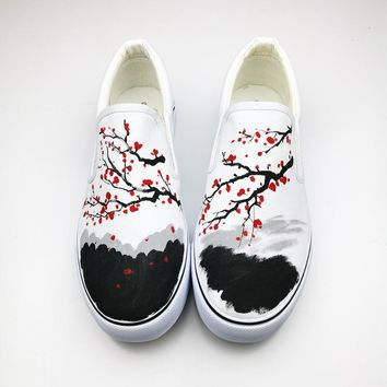 Mountain & Water Graffiti Summer Women Loafers Nmd 2017 Rihanna Creepers Hand-Painted