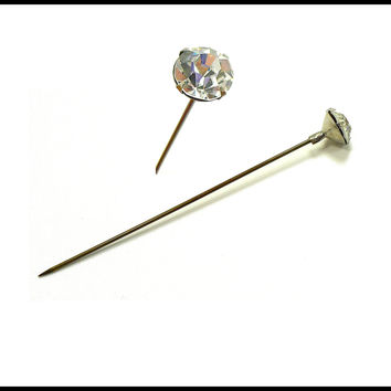 Antique Rhinestone Stickpin, Art Deco Hat Pin, Antique Stick Pin, Rhinestone Hat Pin, Downton Abbey Jewelry