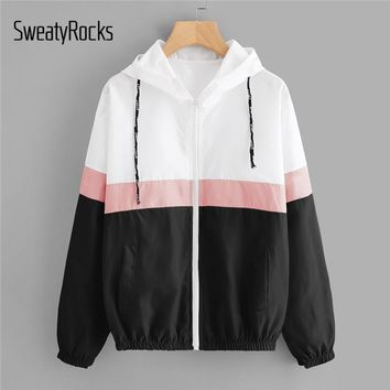 SweatyRocks Hoodies Women Windbreaker Casual Hooded Patchwork Jackets Clothes Color Block Elastic Waist Drawstring Coats