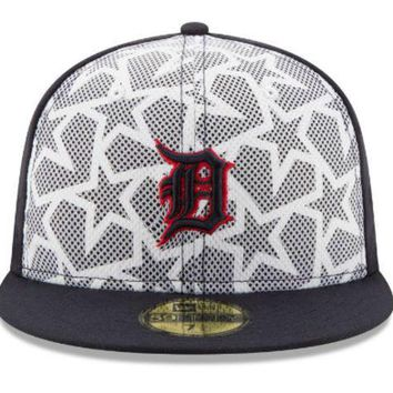 ESBON MLB New Era Detroit Tigers 2016 July 4th 59Fifty Fitted Hat