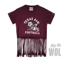 Texas Football maroon shirt Tasseled into a by shopbigbadwolf