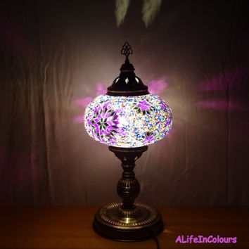 20 inch- Unique handmade Turkish colourful glass mosaic table lamp, bedroom night lamp, bedside unique lamp, livingroom decorative lamp.