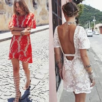Lace Crochet Embroidered Backless Dress