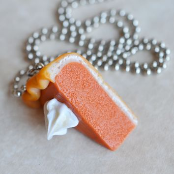 Pumpkin Pie Slice Dessert Necklace, Polymer Clay