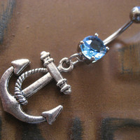 Blue Anchor Belly Button Ring Jewelry Navel Piercing Bar Barbell Nautical Charm Turquiose Aqua