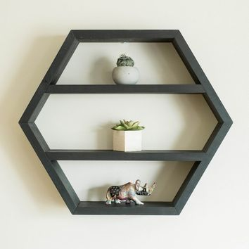 Large Wooden Hexagon Shelf, Essential Oil Storage, Nail Polish Rack, Wall Storage, Floating Shelf, Geometric Wall Decor, Boho Home Decor