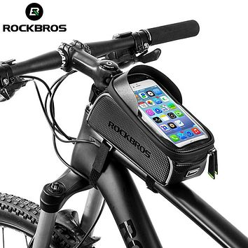 ROCKBROS MTB Road Bike Bicycle Bags Waterproof Touch Screen Cycling Top Front Tube Bike Frame Bags 6.0 Phone Case