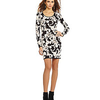 Gianni Bini Samantha Filagree Paisley Sweater Dress - Black/Ivory