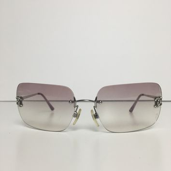 Chanel pink & silver women's sunglasses with metal frame