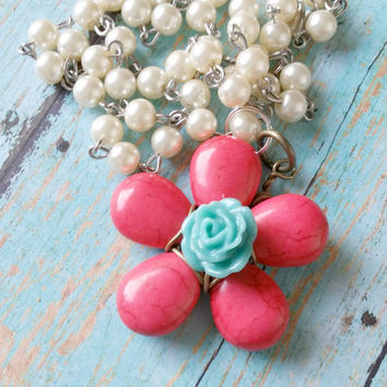 Pink Flower, Mixed Media Necklace, Cowgirl Necklace, Western Necklace, Pearl Bead Necklace, Howlite Necklace, Large Rose Necklace