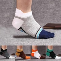 Patchwork New Mens Socks Cotton Five Finger Socks Fashion Casual Toe Socks Breathable Ankle Socks 5Colors