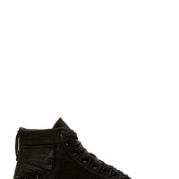 Diesel Black Waxy Denim Pierced Exposure Sneaker