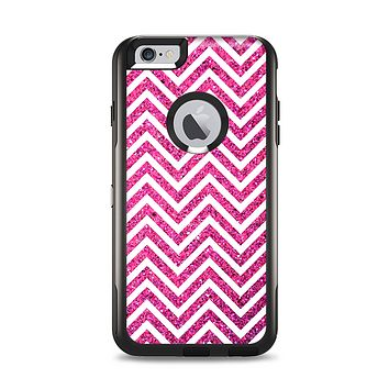 The Pink & White Sharp Glitter Print Chevron Apple iPhone 6 Plus Otterbox Commuter Case Skin Set