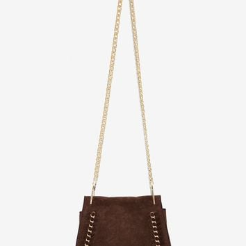 Jory Vegan Suede Crossbody Bag - Brown