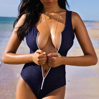 Blue One-piece Zipper Swimsuit