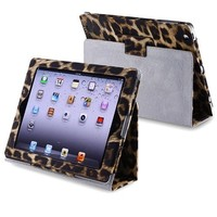 eForCity Leather Case with Stand for Apple iPad 3/4, Black/Yellow Leopard (PAPPIPADLC39)