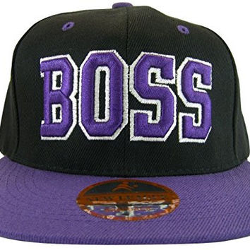 Boss Adjustable OSFA Flat Bill Snapback Baseball Hat Cap Purple with Script on Brim