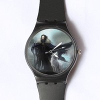 Custom Game of Thrones Watches Classic Black Plastic Watch WT-0816