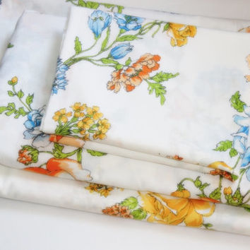Vintage Double Sheet set - Floral Roses Vintage Bedding - Green Yellow White Orange Blue Flowers Fabric Linen set Bed set