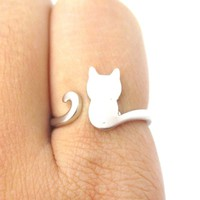 Kitty Cat Silhouette Animal Shaped Adjustable Ring in Silver