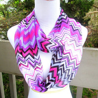 Pink purple infinite chevron Chiffon Scarf***Ready to Ship**
