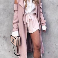 Pink Cut Out Studded Turndown Collar Long Sleeve Trench Coat