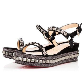 Christian Louboutin Fashion Edgy Hemp rope Rivets Flats Shoes