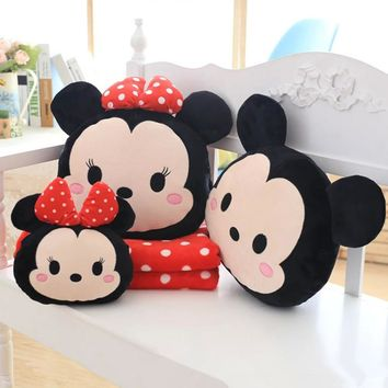 Lovely Mickey Minnie Pillows Soft PP Cotton Stuffed Cushions With Blanket Quilt Plush Toys Christmas Doll Kids Birthday Presents