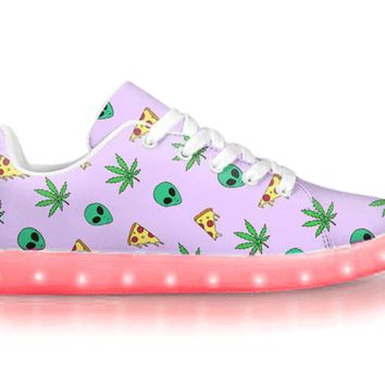 Alien, Pizza, Weed - APP Controlled Low Top LED Shoes