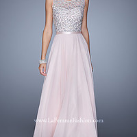 La Femme High Neck Prom Dress