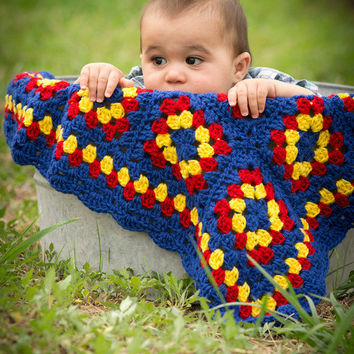 primary color crochet baby blanket, crochet baby afghan, red blue yellow handmade blanket, new baby Superman nursery decor READY TO SHIP