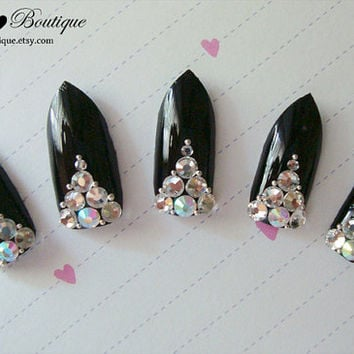 3D Bling Fake Nail Set - Black Reverse French Nails with Clear/Iridescent Pink Crystal Rhinestones and Silver Beads