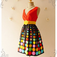 Spot Dot Retro Dress Chic Summer Dress Indigo Disco Ball Dress Summer Beach Dress Colorful Dress Party Dress Red Black Shade -S-M