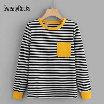 SweatyRocks Multicolor Casual Contrast Pocket Striped Tee Long Sleeve Pullover Lady Tops 2018 New Fashion Autumn Women Tees
