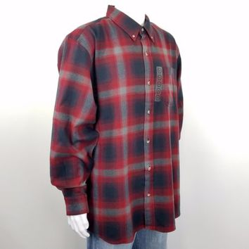 Hobbs Creek Flannel Shirt Plaid Red Ombre Long Sleeve Button Front Mens Size 2XL