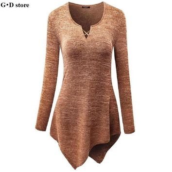 Women Elegant Cotton t shirt V Neck long Sleeve Handkerchief Hem Line Lightweight Knitting Tunic Top T-shirt tees