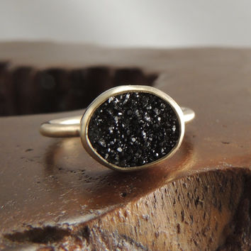 Druzy Solid 14k Gold Ring, Black Gemstone Ring, Quartz Crystal, Drusy Ring, Black Druzy, Handmade Ring, Eco Friendly