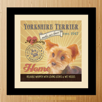 Yorkshire Terrier Dog Art Poster - A01-005-10X10