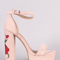 Embroidered Rosette Ankle Strap Open Toe Chunky Platform Heel