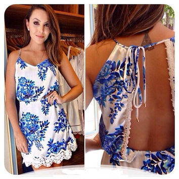 Printed Backless Lace Dress