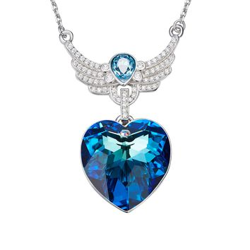 Fashion Blue Austrian Crystal 925 Sterling Silver Angel Wing Necklace