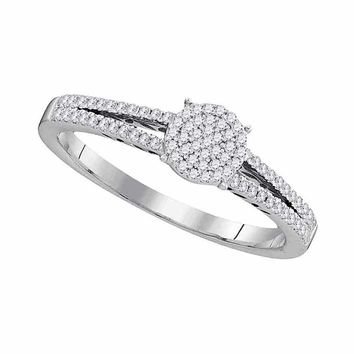 10kt White Gold Women's Round Diamond Split-shank Circle Cluster Ring 1-5 Cttw - FREE Shipping (US/CAN)