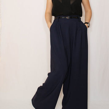 High waist Wide leg pants Navy pants with pockets