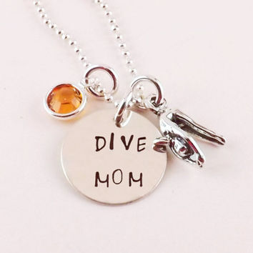 Sterling Silver Dive Mom Charm Necklace with Sterling Silver Diver Charm and Silver Plated Crystal Birthstone