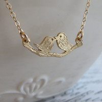 Delicate Gold Necklace - Gold Bird Necklace, Little gold birds pendant, Tiny bird necklace, Gold jewelry, Love gold necklace